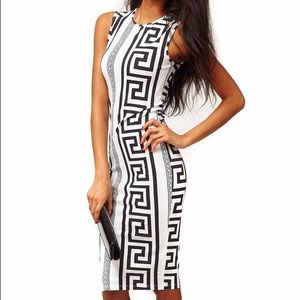 Asoss Black Midi Greek Key Dress